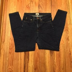 "J. Crew 9"" high rise toothpick jeans, size 27"